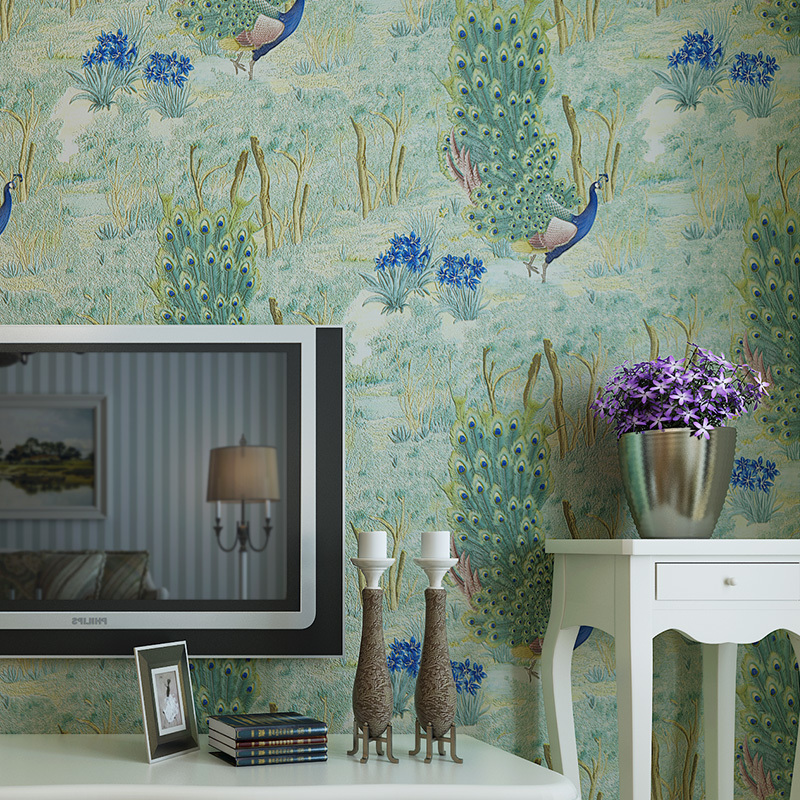 Papier peint de paon de l'asie du sud-est de catégorie supérieure pour les murs 3d papier peint 3d en relief profond de mur chambre salon décor à la maison papiers peints
