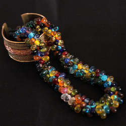 TNL343 Nepal Colorful Lampwork Glass Beaded Necklace for Girls
