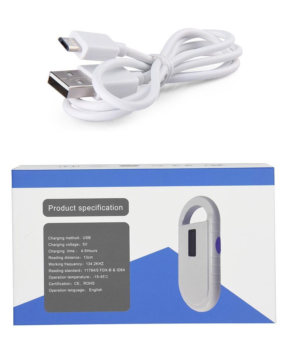 Livraison gratuite ISO11784/5 FDX-B Animal lecteur d'identification de puce transpondeur USB RFID poche microchip scanner pour chien, chats, cheval - 4