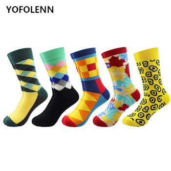 5 Pairs/lot Men's Funny Happy Combed Cotton Dress Socks Novelty Casual Wedding Socks Fashion Colorful Skateboard Socks Cool 4pair lot combed cotton girl