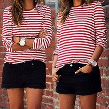 2019 hot na co dzień kobiety czerwony biały w paski z długim rękawem bawełna luźna koszula kobiet podstawowe O-Neck topy Tee jesień swetry t-shirt