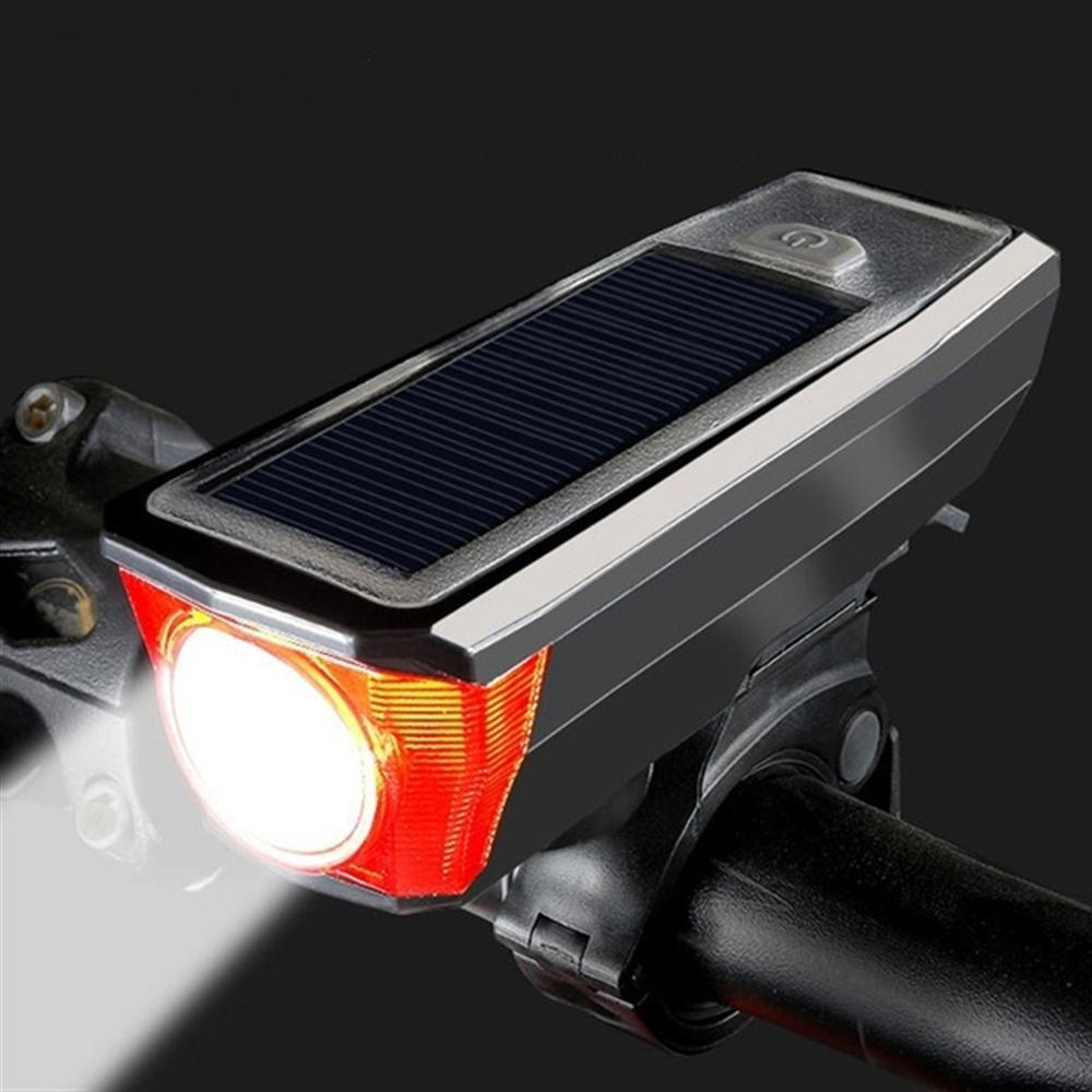Solar bicycle light USB rechargeable with Horn lamp light waterproof bicycle front lamp bicycle headlights accessoriesSolar bicycle light USB rechargeable with Horn lamp light waterproof bicycle front lamp bicycle headlights accessories