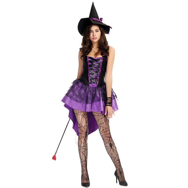 Plus Size Xxl -s <font><b>Halloween</b></font> Witch Costume For <font><b>Women</b></font> <font><b>Sexy</b></font> Lila Swallow Tail Pantyhose Wear Hat Carnival Party <font><b>Women's</b></font> Suit image