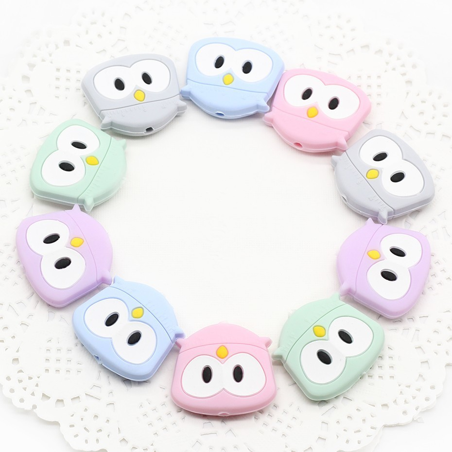 5PCs Cartoon Cute Mini Owl Silicon Beads Baby Safety Food Grade Silicone Teether DIY Pacifier Clips Chain Essential Accessories