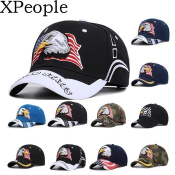 Men's Animal Farm Snap Back Trucker Hat Patriotic American Eagle and American Flag Baseball Cap USA 3D Embroidery front knot american flag patriotic tee