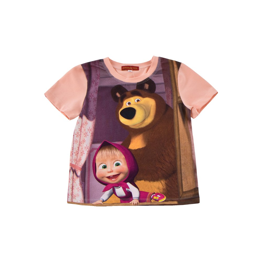 Masha and Bear Shirt T-shirt 3d letters and banknote printed round neck short sleeve men s t shirt