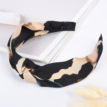 Sale Leopard Cotton Knot Hair Band  High Quality Women Headband Popular Cross Elastic Ladies Accessories