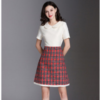High Quality Luxury Designer Woman Dress Tweed Patchwork Peter pan Collar Mini Dress Short Sleeve A Line Dresses