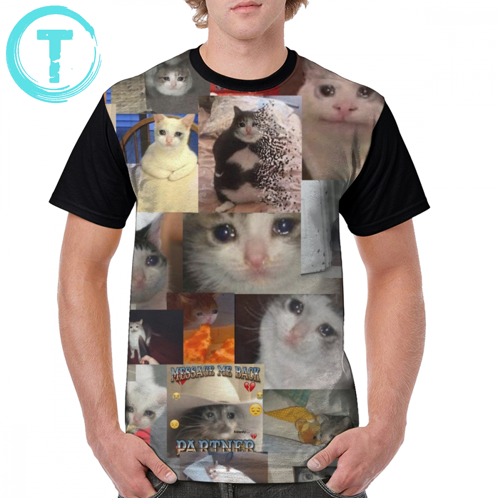 Cat T Shirt Crying Cat T-Shirt Man 100 Polyester Graphic Tee Shirt Awesome Summer Short Sleeve Big Graphic Tshirt