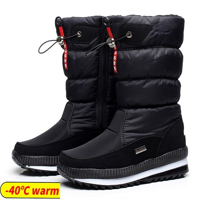 Phụ nữ Ủng nền tảng mùa đông giày dày sang trọng chống trượt chống thấm nước giày bốt thời trang nữ mùa đông giày lông ấm áp botas mujer