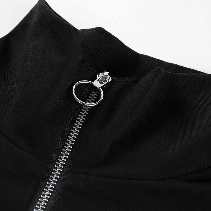 С буквенным принтом сексуальное боди с длинными рукавами Осенне-зимняя Дамская обувь Черный боди с высоким горлом Для женщин s облегающие комбинезоны Femme комбинезон