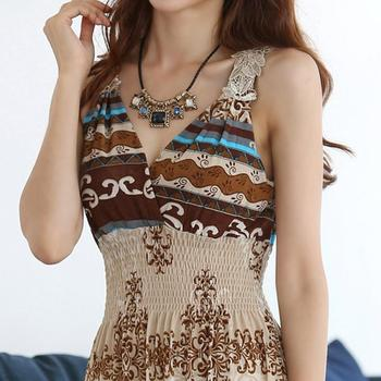 Summer Women Maxi Long Dress V- Neck Beach Printed Dress Women Sexy Sleeveless Bohemian Dress Vestidos 1