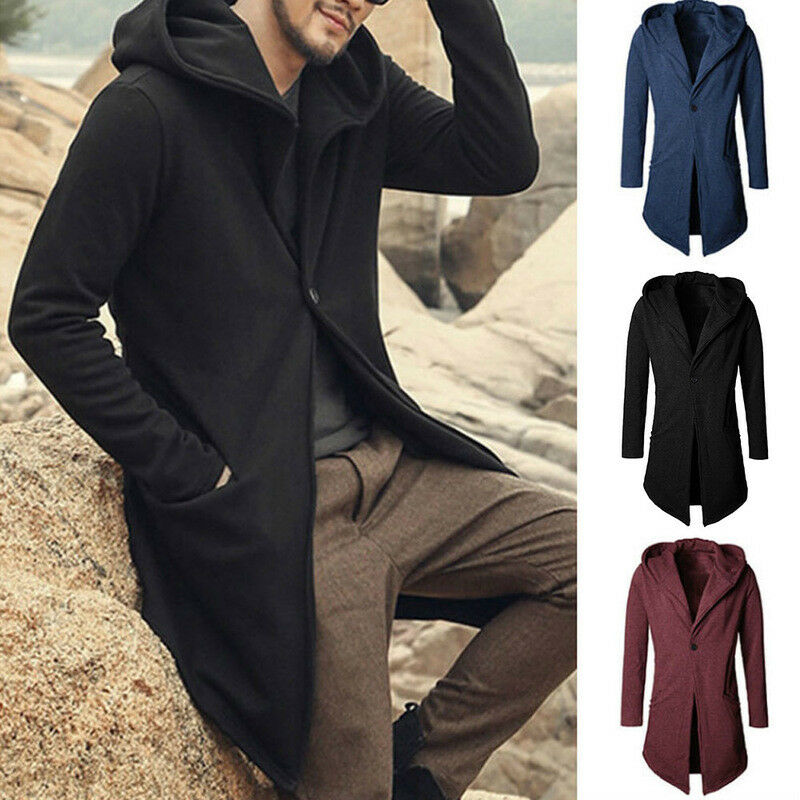 Men Spring Trench Coat Jacket Hooded Cardigan Long Sleeve Casual Slim Fit Jacket Sweatshirts Male Jackets Casual Wear Clothes