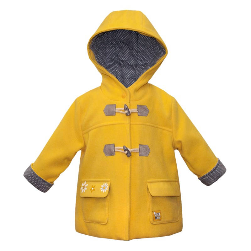 Basik Kids Coat drab yellow kids clothes children clothing kids high low rabbit hooded coat