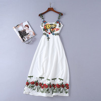 2018 New Womens Summer White Dress Chiffon Animal Floral Embroidery Spaghetti Strap Strapless Casual Long beach dress