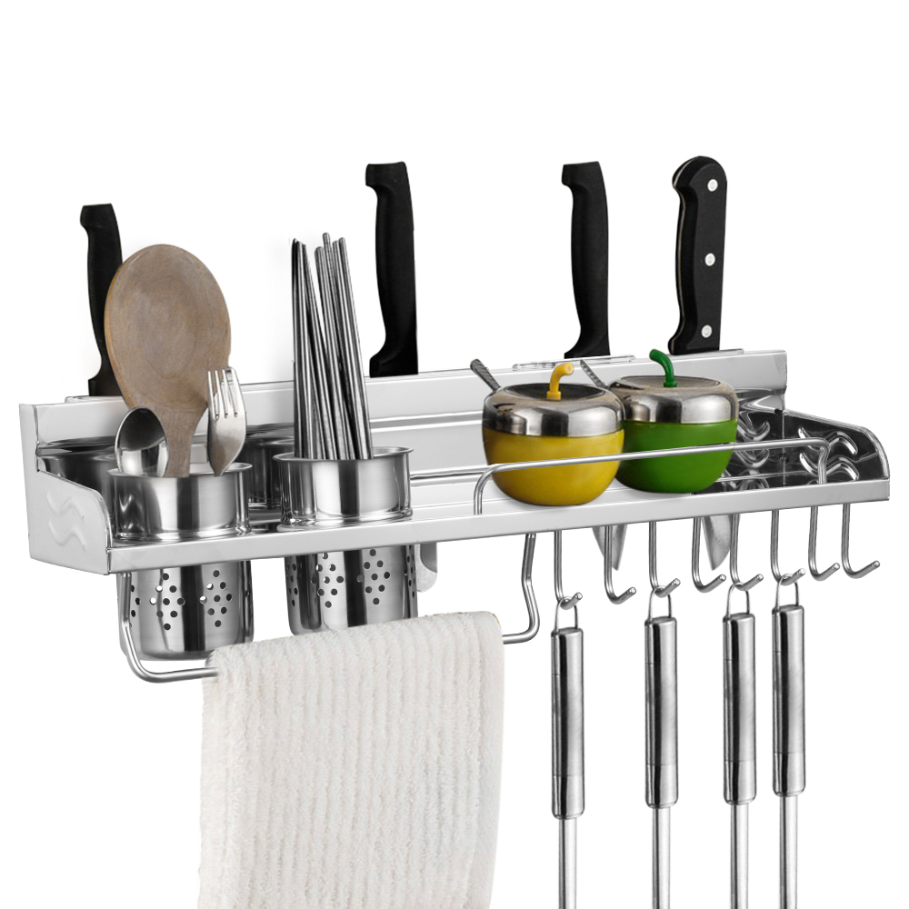 Wall Mounted Pot Pan Rack Multifunctional Stainless Steel Kitchen Shelf Storage Rack With Bottle Rack Cutlery