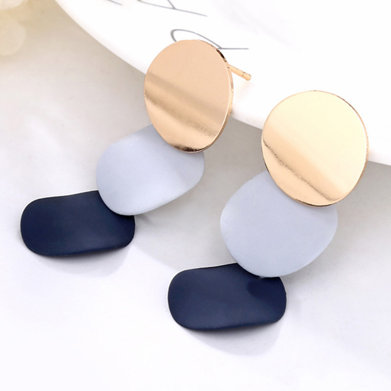 Hot Vintage Acrylic Round Earrings For Women Geometric connect Metal Drop Earring Statement Jewelry in Drop Earrings from Jewelry Accessories