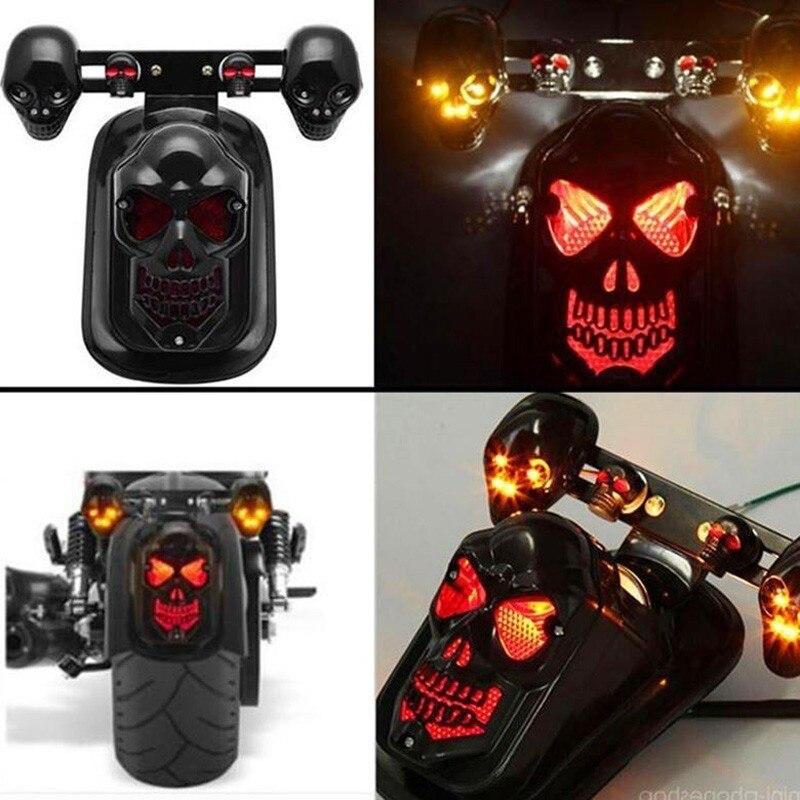 Motorcycle Skull Rear Tail Brake Turn Signal Light Chrome For Harley Universal