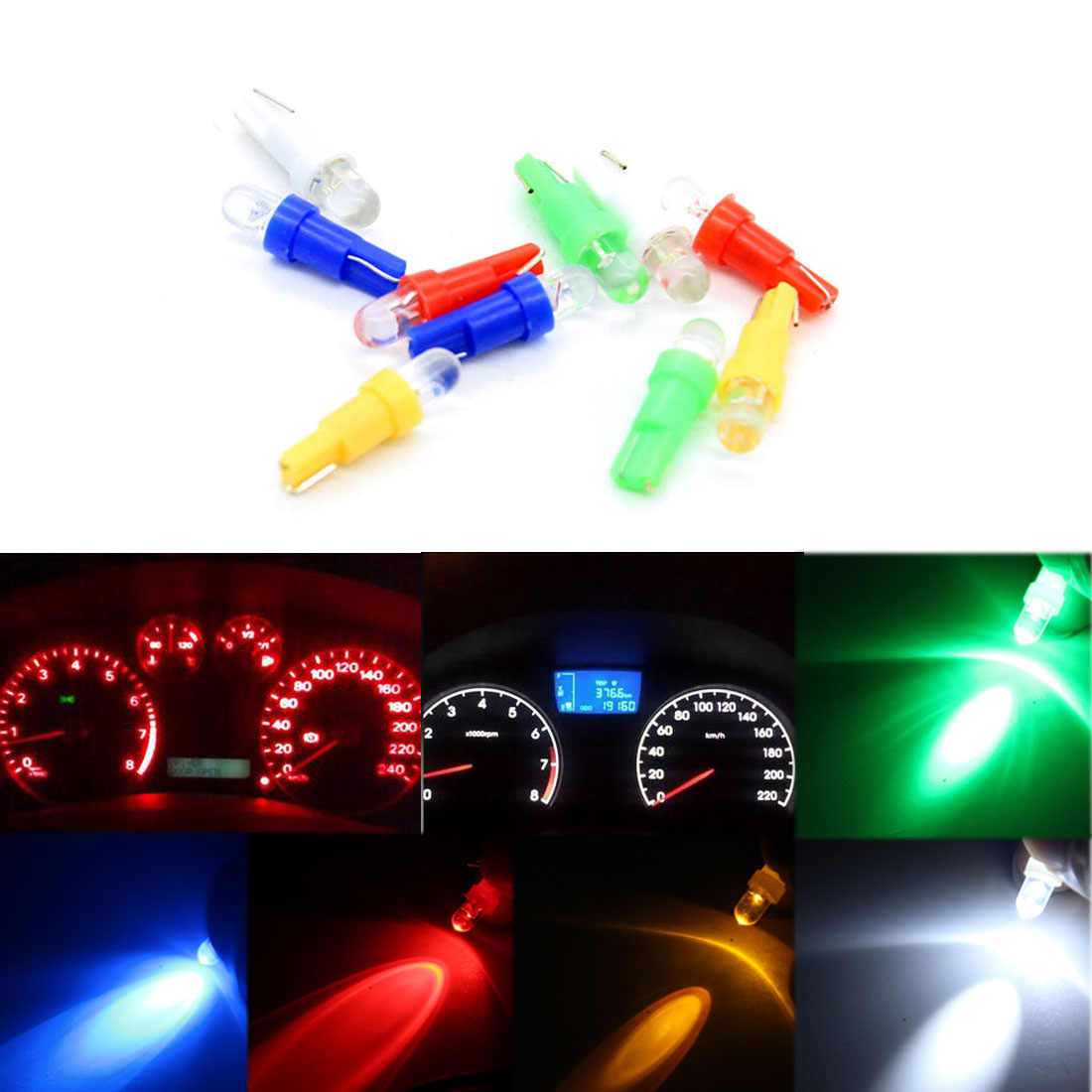 Dongzhen 10PCS T5 LED Car Interior Dashboard Gauge Instrument Car Auto Side Wedge Light Lamp Bulb DC 12V White