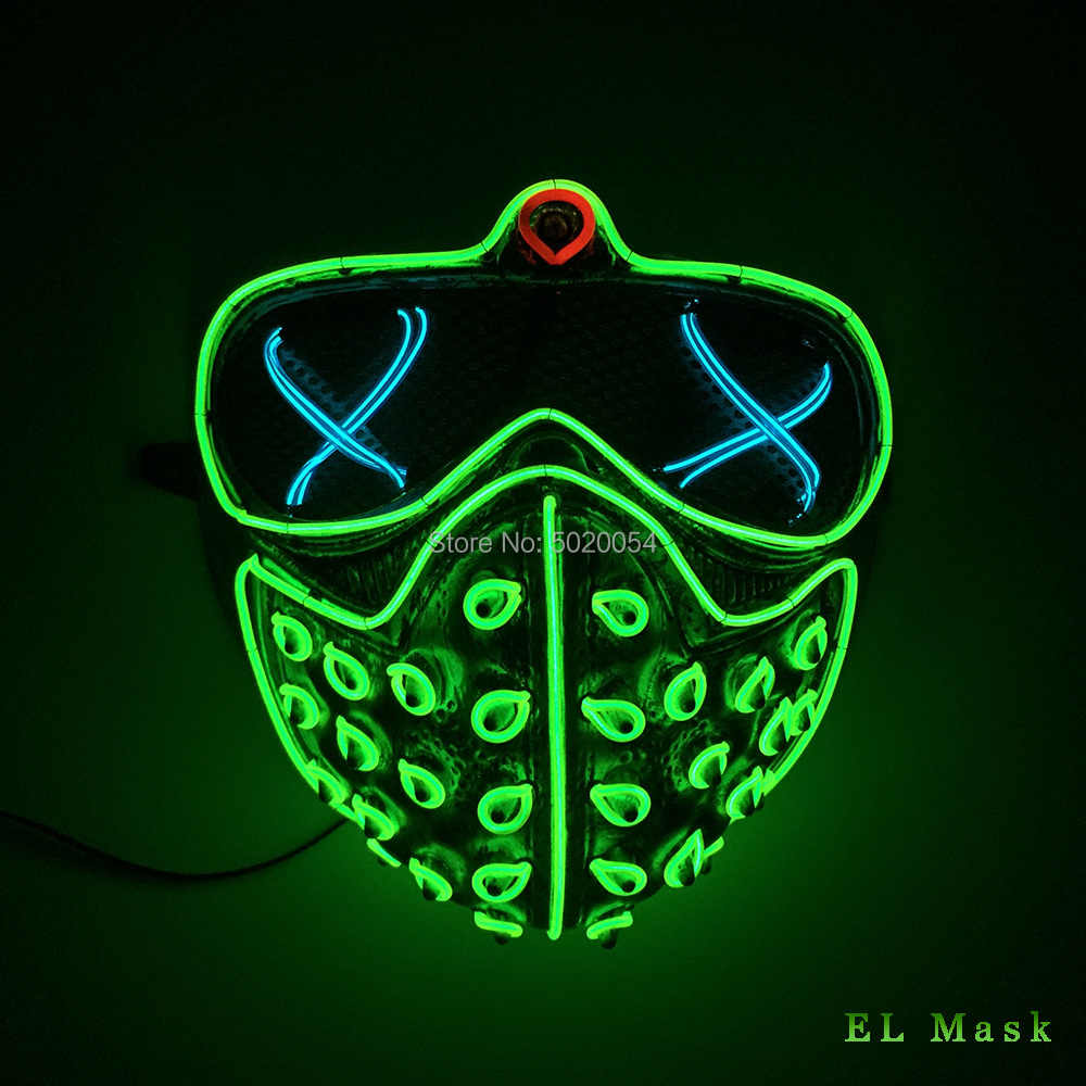High-grade Holidays Led Rave Masks Glowing Party EL Mask Halloween Cosplay-Props Watch Dogs Mask Men's Gift