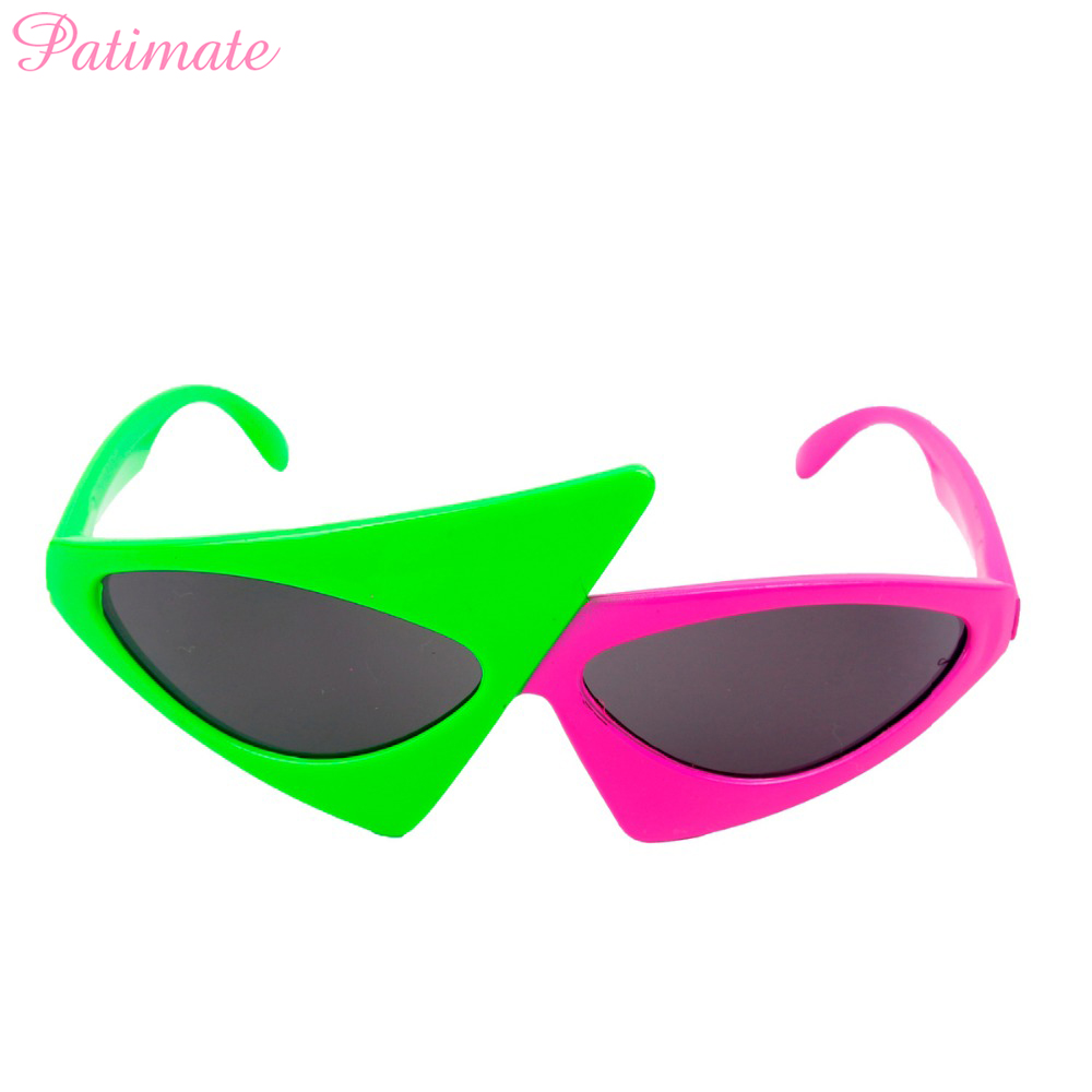 Patimate Novelty Green Pink Contrast Funny Glasses Roy Purdy Glasses Hip Hop Asymmetric Triangular Sunglasses Party Decorations