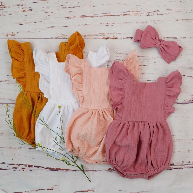 Organic Cotton Baby Girl Clothes Summer New Double Gauze Kids Ruffle Romper Jumpsuit Headband Dusty Pink Playsuit For Newborn 3M(China)