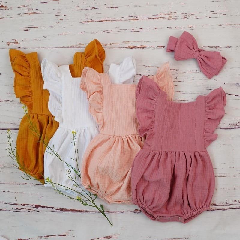 Organic Cotton Baby Girl Clothes Summer New Double Gauze Kids Ruffle Romper Jumpsuit Headband Dusty Pink Innrech Market.com