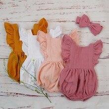 Organic Cotton Baby Girl Clothes Summer New Double Gauze Kids Ruffle Ro