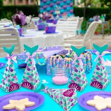 HUIRAN Mermaid Theme Party ตกแต่ง Mermaid Party Supplies Girl Happy Birthday Party ตกแต่ง(China)
