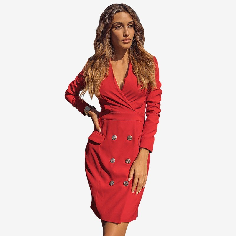 Dress jacket. Color red fashionable v neck solid color lace splicing sleeveless dress for women