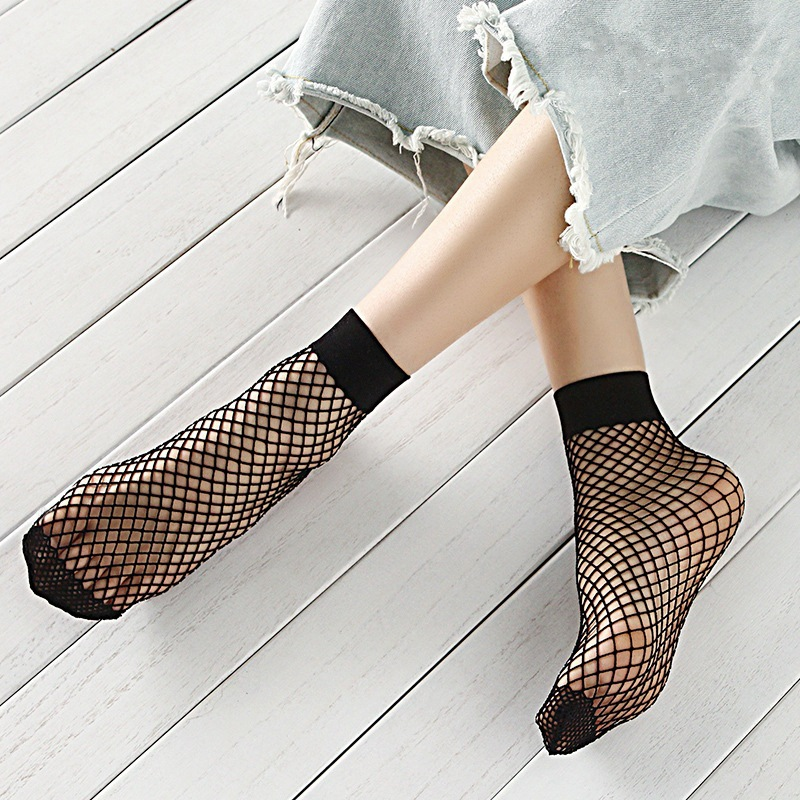 Ms Black Korean-Style Cutout Cross-Fishnet Stockings Socks Big Fishnet Stockings Rib Top Socks Net Socks
