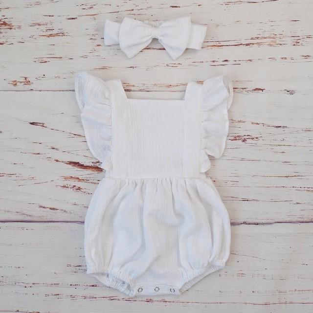 Organic Cotton Baby Girl Ruffle Romper And Headband