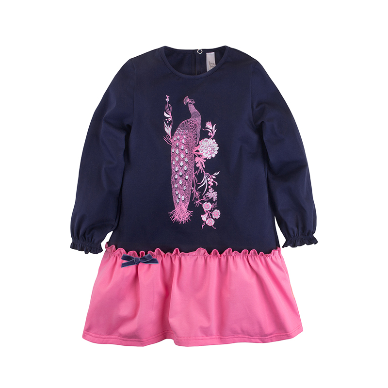 Children Girls Dress Bossa Nova 151B-167 Dark Blue&Pink dark blue lace up design v neck cold shoulder irregular hem dress
