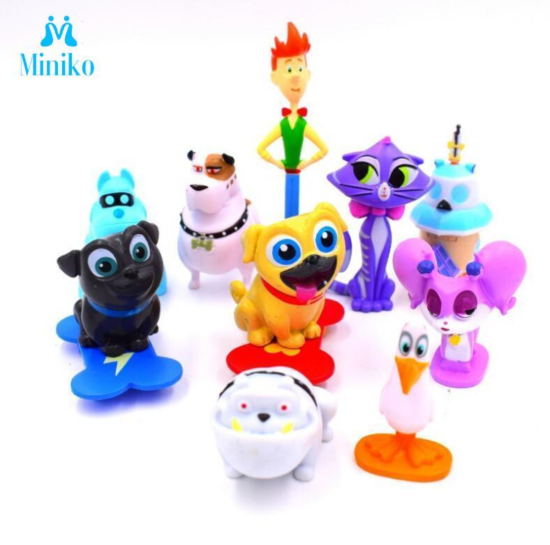 12pcs/set Puppy Dog Pals Doll Canina Anime Toy Action Figures Bingo Rolly Toys Cake Decor Christmas Birthday Gifts For Children