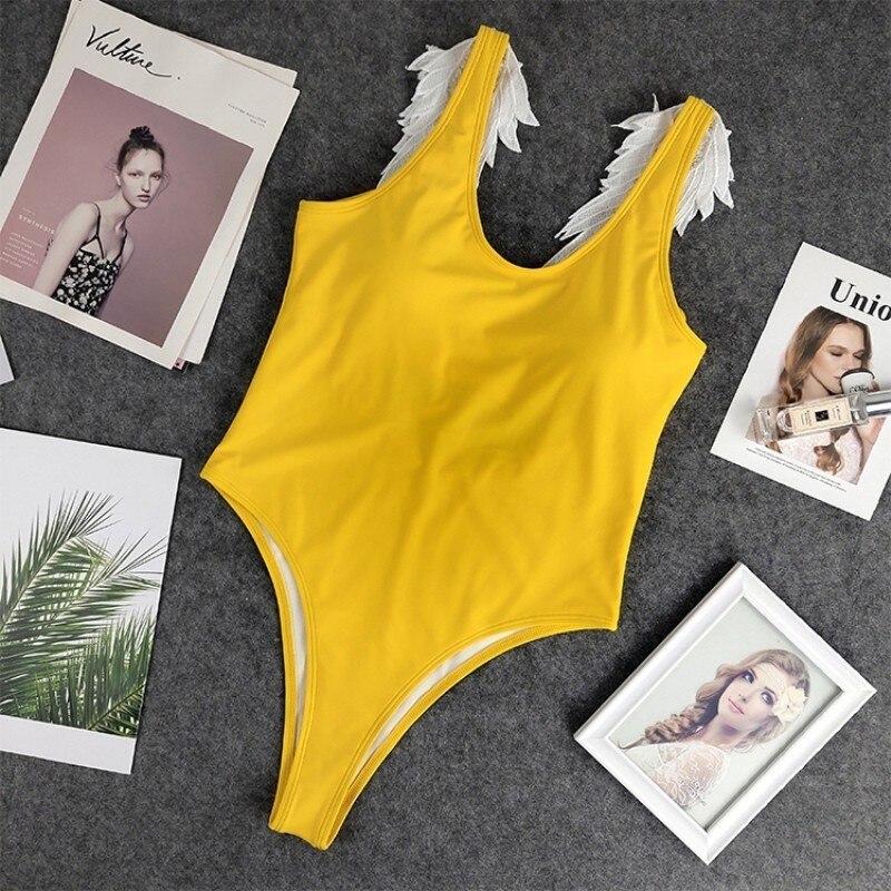2019 New Swimwear Women One Piece Solid Angel Wings Backless Swimsuit Summer Beach Brazilian Beachwear Swim Bathing Suit Girls in Body Suits from Sports Entertainment