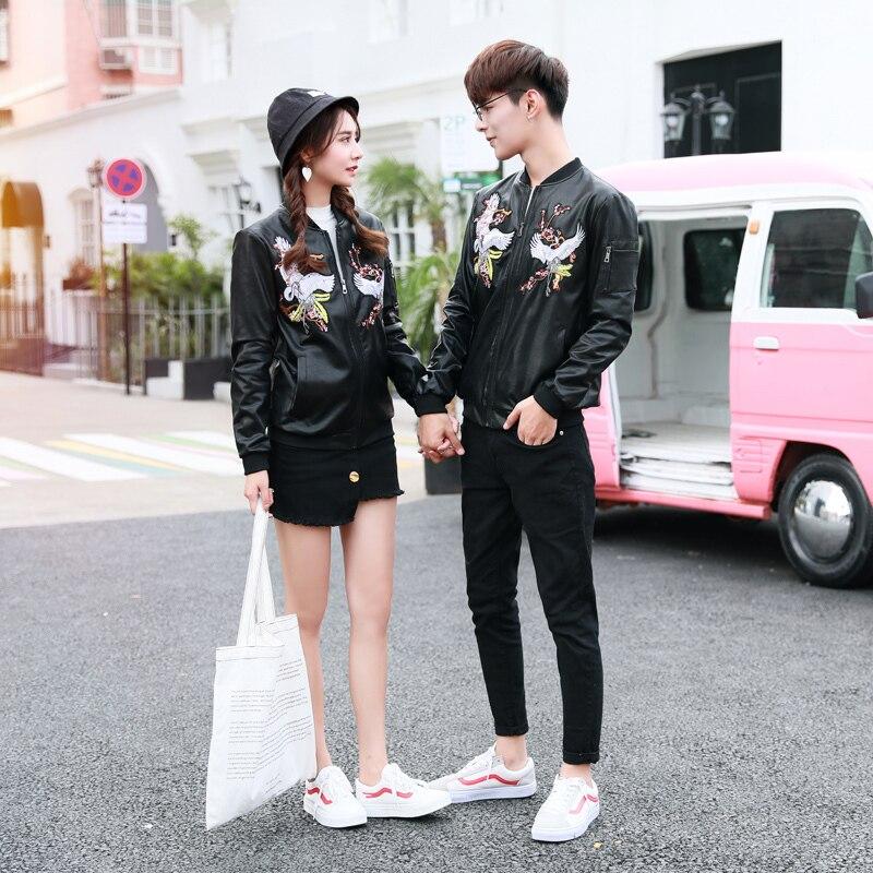 2019 Nouveau Été Et Automne Chinois de Style Rétro décontracté Couple Hommes Impression Beau Moto En Cuir Veste M-XL Taille Meilleur - 2