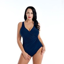 2019 New Large Cup Tankini Set Women Swimwear One Piece Solid Halter Swimsuit Swimming Dress Bathing Suit Plus Size 4XL--8XL