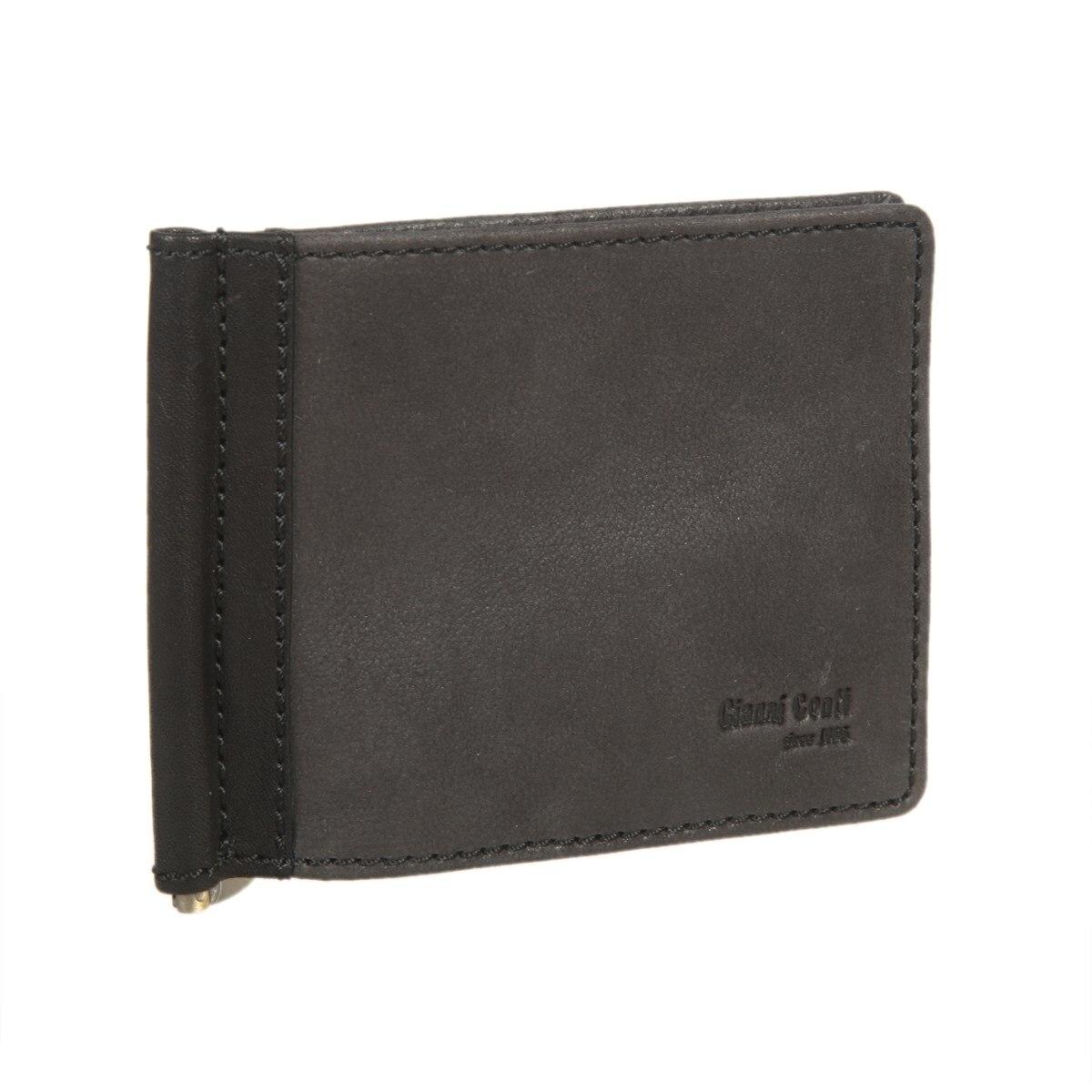Money clip Gianni Conti 2187466 black 2017 men leather brand luxury wallet vintage minimalist short male purses money clip credit card dollar price portomonee