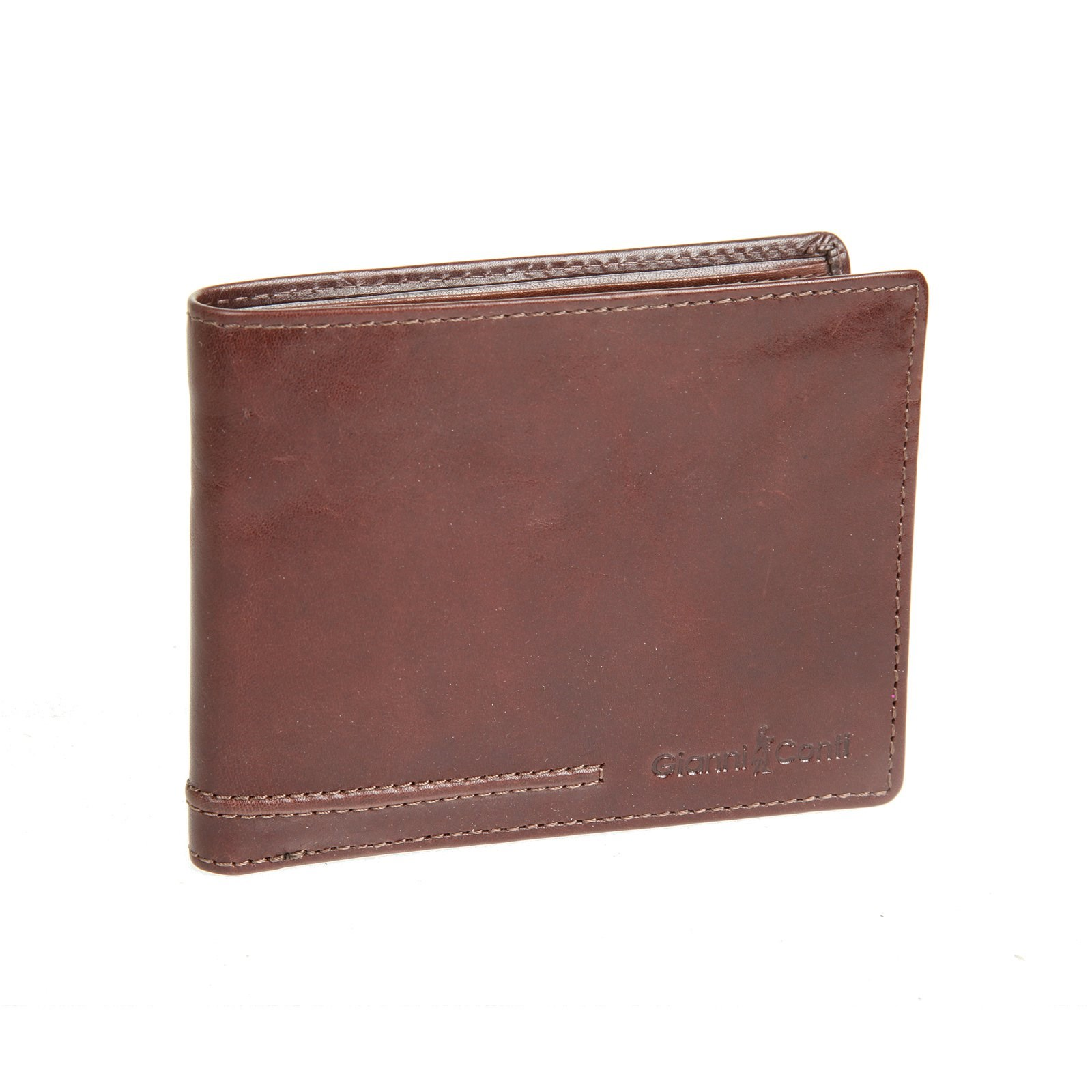 Coin Purse Gianni Conti 707100 Brown simline vintage genuine crazy horse cow leather men men s long hasp wallet wallets purse zipper coin pocket holder with chain