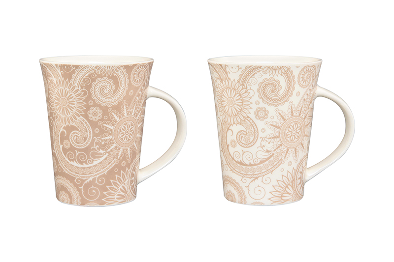 Available from 10.11 Set of mugs Pattern white cappuccino Elan Gallery 250084 tree pattern duvet cover set