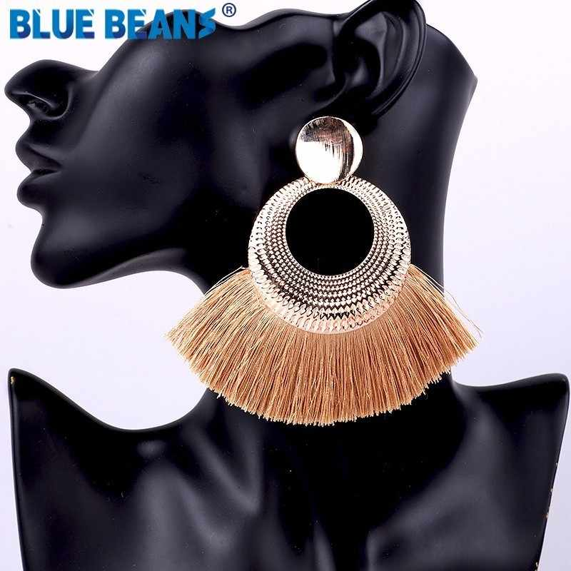 Tassel earrings bohemian statement luxury long earring handmade gifts for women geometric fringe fashion drop christmas big star