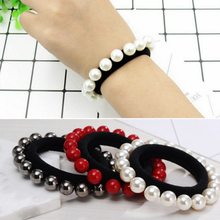 Sale 1PC Pearl Hair Rope For Women Accessories Headwear Red Girls Band Fashion