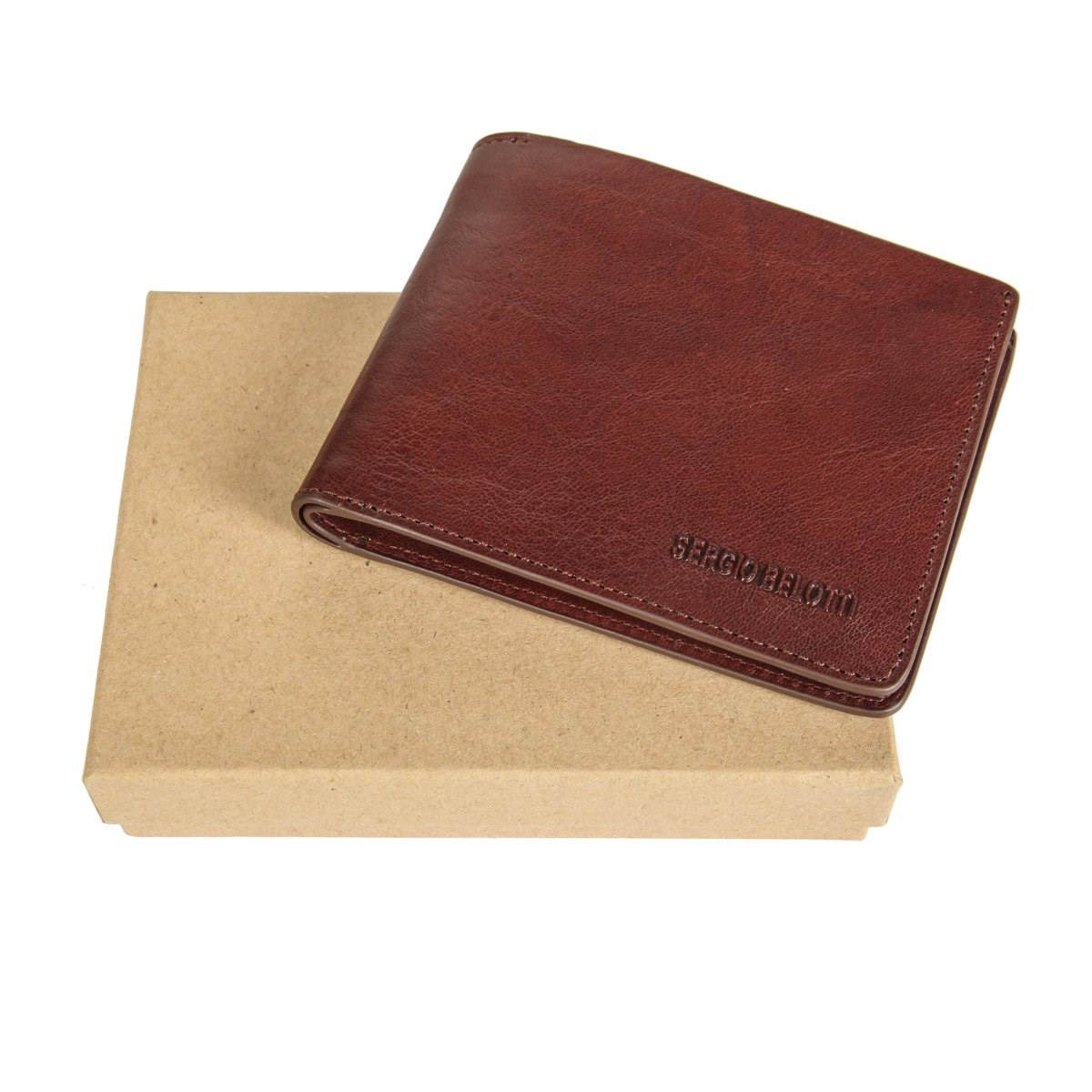 Coin Purse Sergio Belotti 3557 IRIDO Brown simple retro split leather coin purse w belt buckle brown