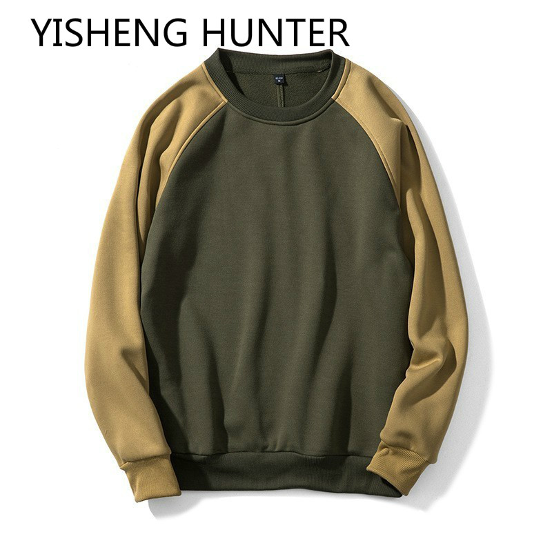 2019 NEW Street wear splicing raglan sleeve sweatshirt men Loose style casual men sweatshirt Warm fleece mens hoodies