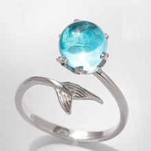 Fashion Blue Crystal Mermaid Bubble Open Rings For Women Creative  Statement Jewelry Adjustable Size Finger Ring