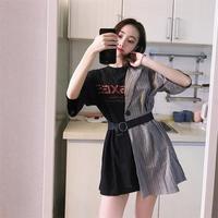 1b7501da874ad Ins Lattice Stitching Fake Two Piece Letter Dress Women S Clothes Japan  Kawaii Retro Female Korean