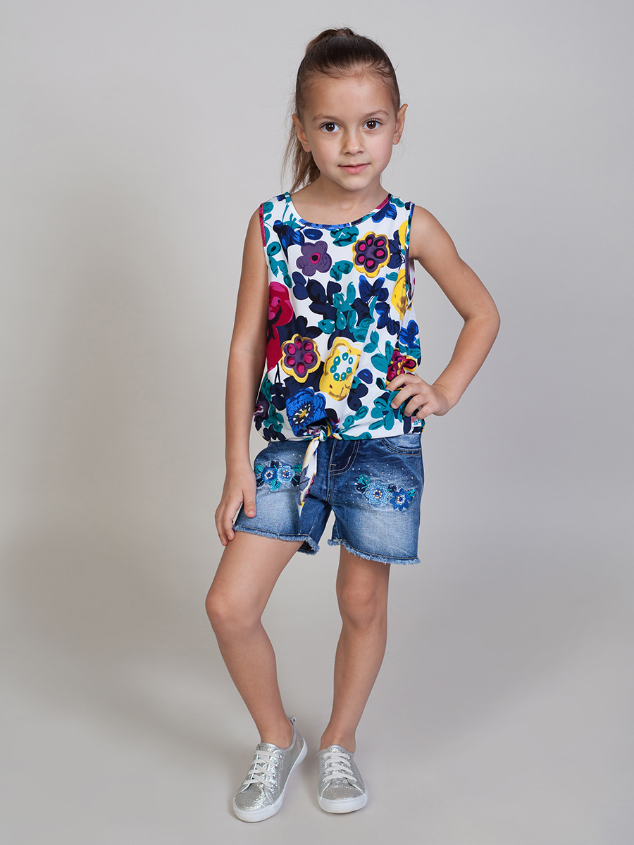 [Available with 10.11] Top fabric for girls girls flutter sleeve striped top