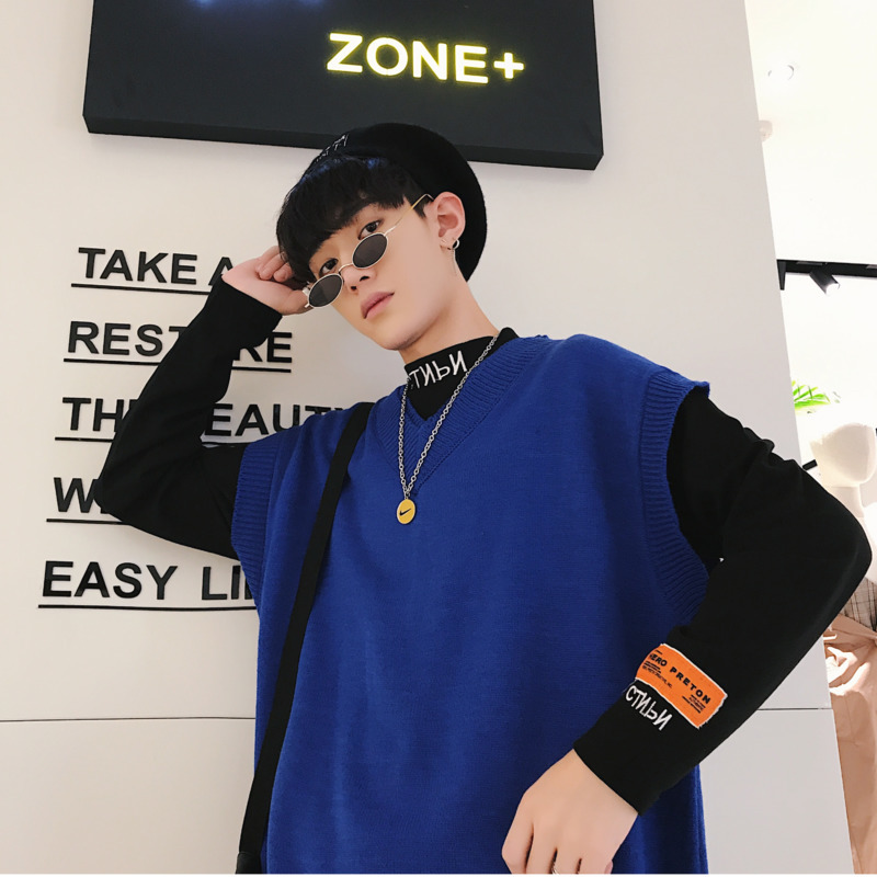 2019 Summer New Listing Korean Version Of The Couple Male Loose Hip Hop Solid Color Sleeveless Vest Sweater M-XL Size Discount