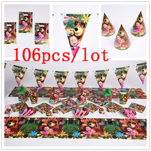 Masha And Bear 106Pcs/Lot Birthday Party Decorations Wedding Tablecloth Event Cup Plate Napkin Supplies Disposable Tableware Set