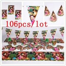 Masha y Bear Juego de vajilla desechable, 106 unidades/lote, decoraciones de fiesta de boda, mantel, evento, taza, plato, servilleta, suministros